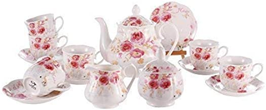 New Bone China Tea Sets 15 PCS - 6 OZ Floral Pattern Coffee Cup and Saucer for 6 with Teapot Creamer Sugar Jug for Family Gathering/Catering Use