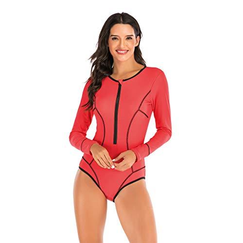 GOKOMO Damen Badeanzug Figurformend Schwimmanzug Mit Performance-Schnitt Racer-Back Sport Bademode Badebekleidung des surfenden Wetsuit der heißen Quelle(Rot,Small)