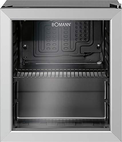 Bomann KSG 7282.1 - Frigorífico con puerta de cristal, 48 litros, iluminación interior LED, conmutable por separado, bisagra de puerta intercambiable, estante cromado (altura regulable), color negro