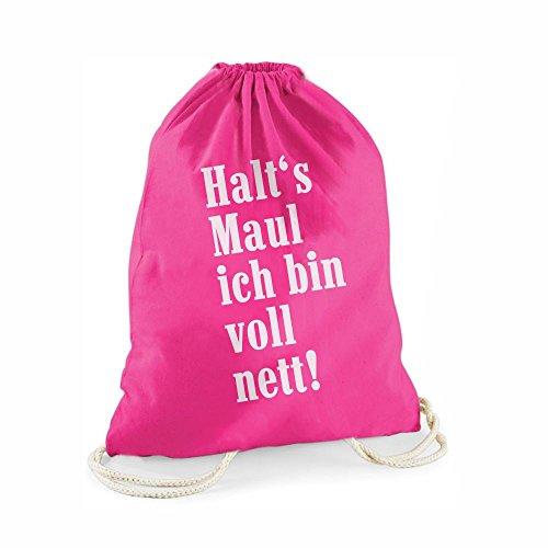 Statement-Turnbeutel pink Halt's Maul ich Bin voll nett! - Gym-Bag Rucksack Hipster Gymsac Sportbeutel Tasche Geschenk für Sie