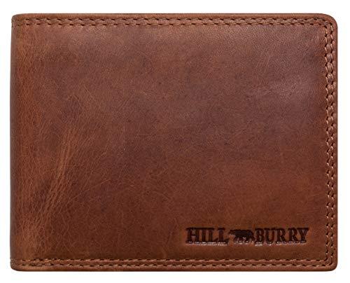 Hill Burry Herren Echt-Leder Geldbörse RFID | Voll-Leder Vintage Portemonnaie Brieftasche Portmonee Geldbeutel - aus hochwertigen weichem Leder - Kreditkartenetui Wallet Vintage | Querformat (Braun)