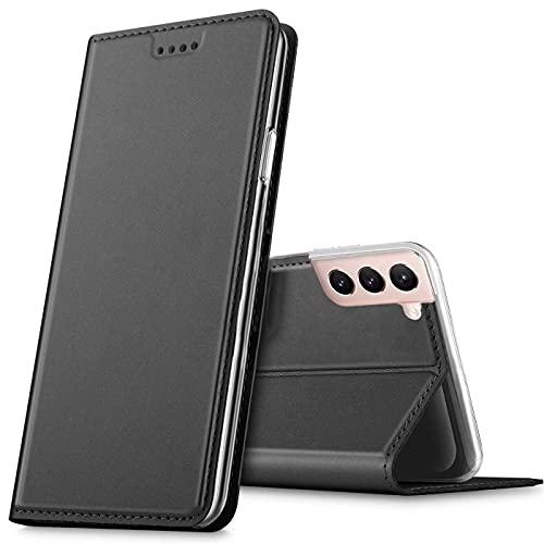 Verco Handyhülle für Samsung Galaxy S21+ 5G, Premium Handy Flip Cover für Samsung S21 Plus Hülle [integr. Magnet] Book Hülle PU Leder Tasche, Schwarz