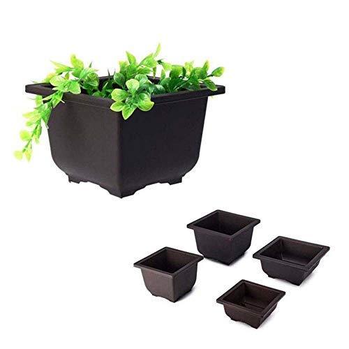 MZY1188 1pc Macetas de bonsái de plástico, macetas de bonsái de Flores de balcón con Bandeja Plantas cuadradas/rectangulares Macetas de vivero