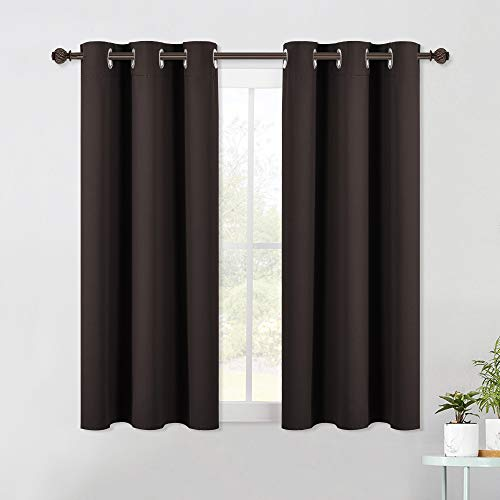 NICETOWN Living Room Blackout Draperies Curtains, Energy Smart Thermal Insulated Solid Grommet Blackout Curtains / Drapes Window Panels (2 Panels, 42-Inch x 54-Inch, Toffee Brown)