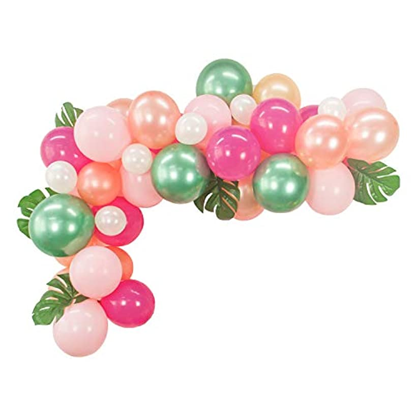 40pcs DIY Balloon Garland Hawaiian Party Summer Tropical Theme Party Decor Palm Leaves Pink Rose Gold Rose Red Green Balloons Garland Perfect for Baby Shower Bridal Shower Birthday Party Decorations