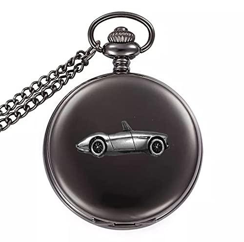 Classic Car Healey 3000 Mk3 ref18 - Reloj de bolsillo de cuarzo con diseño de efecto peltre en una caja negra pulida
