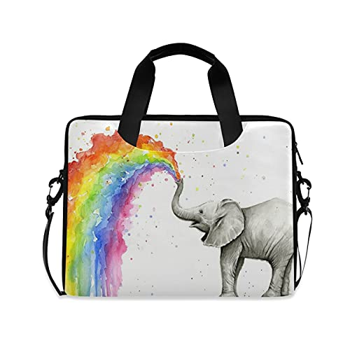 Baby Elephant Spraying Rainbow Laptop Messenger Bag Case Sleeve Crossbody Briefcase for Men Women with Shoulder Strap Handle 13 14 15.6 inch