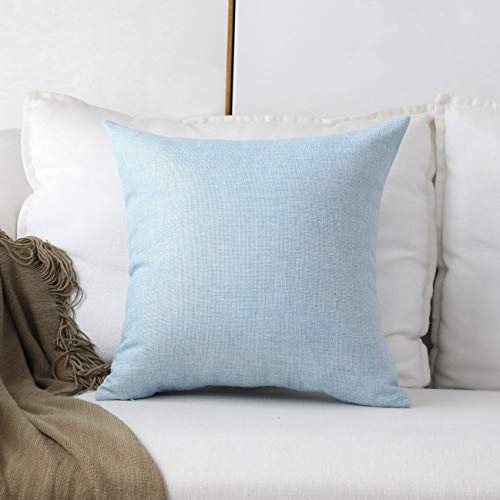 Home Brilliant Decor Lined Linen Euro Throw Pillow Cover Sham Large Cushion Covers for Patio, 26 x 26 inch(66cm), Light Blue