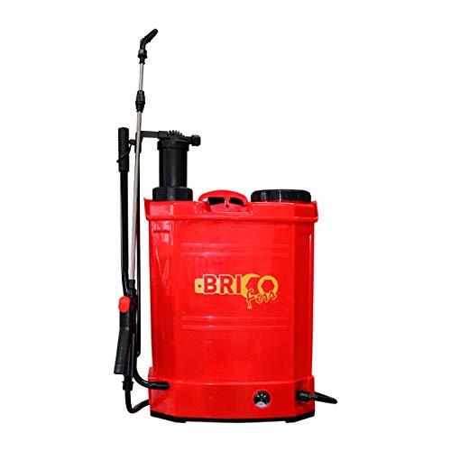 Bricoferr BFOL0875 Pulverizador Manual y batería de 16L 2en1, Rojo