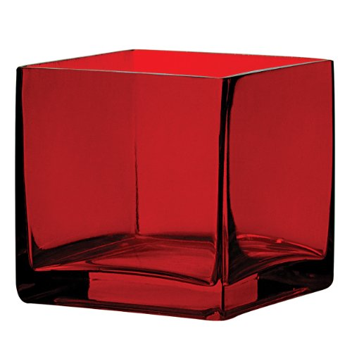 Syndicate Sales 4' x 4' x 4' Square Vase, Ruby