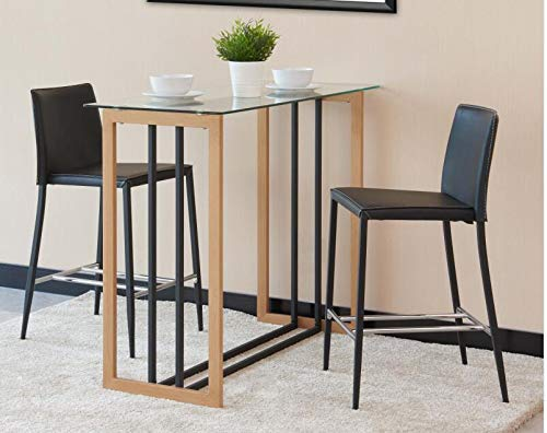 Brooklyn Modern Rectangular Clear Glass Oak Wood And Black Industrial Metal High Bar Table Breakfast Dining Kitchen Table