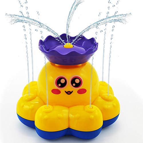 HAOMARK Bath Toys  4 Pack Bath Bathtub Spray Water Toy Sprinkler Octopus and Floating Rubber Animal Interactive Bath Toys Gift for Kids Toddlers 1-3