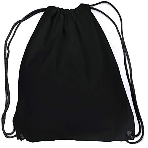 vanVerden - Turnbeutel aus Baumwolle - All Black blanko/unbedruckt - schwarzer Stoff-Beutel mit Kordelzug Verschluss