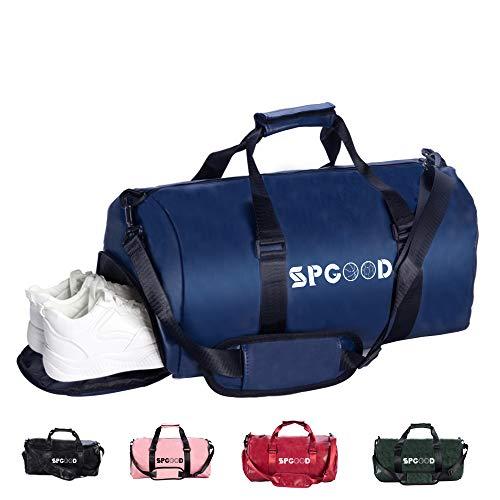 SPGOOD Sporttasche Handgepäck Wasserdicht 30L Reisetasche mit Schuhfach und Schultergurt für Übernachtung Reisen Sport Gym Urlaub Taschen Trainingstasche Fitnesstasche Gym-Tasche (Dunkelblau)