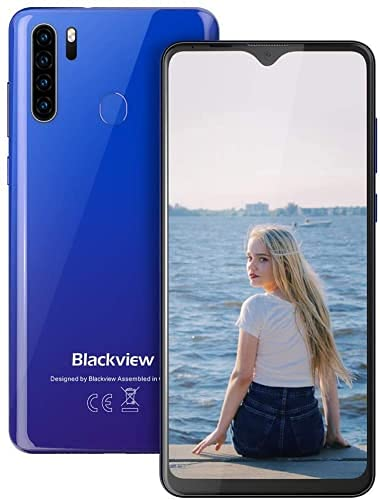 Blackview A80 Pro Smartphone ohne Vertrag, 6,49 Zoll Octa-core Smartphone, 4.680mAh Akku 4GB RAM 64GB Speicher, 13MP+8MP Kamera, Face ID/Fingerabdruck/GPS 4G Dual SIM Handy (Mist Blau)
