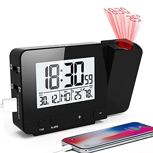 MCvilla Projektionswecker, Wecker Reisewecker mit Projektion USB-Anschluss Innentemperatur und Luftfeuchtigkeit Tischuhr Snooze Funktion-Schwarz