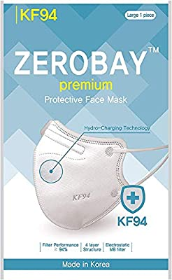 [Pack of 10] 4-Layers Premium Protective KF94 Certified Face Safety White Mask for Adult [Individually Packaged] [Made in KOREA] by ZEROBAY