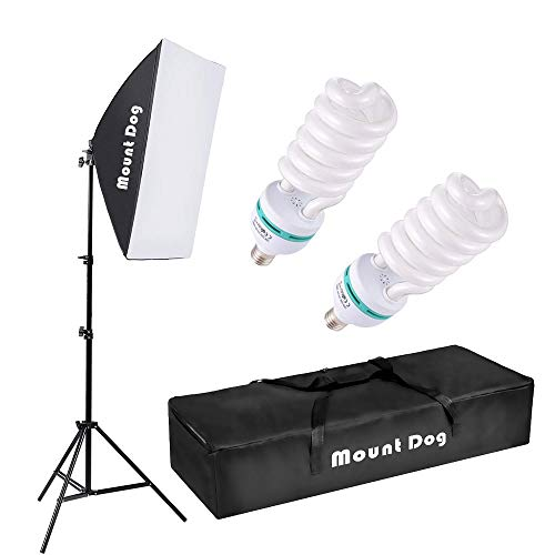 MOUNTDOG Photography Continuous Softbox Lighting Kit 20X28 Professional Photo Studio Equipment with 2pcs 95W E27 Socket 5500K Video Lighting Bulb for Filming Portraits Shoot