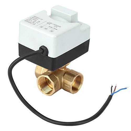 FOLOSAFENAR Válvula de Bola eléctrica eléctrica Válvula de Bola motorizada de latón de 3 vías G3 / 4 3 Cables DN20 para calefacción para Aire Acondicionado