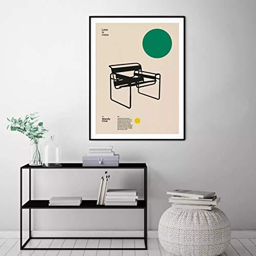 N/A Póster De Lienzo para Decoración del Hogar Silla Wassily Muebles Minimalistas De Marcel Breuer Diseño De Bauhaus Arte para Sala De Estar