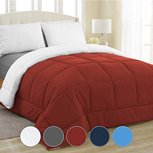 Equinox All-Season Crimson Red/White Quilted Comforter - Goose Down Alternative - Reversible Duvet Insert Set - Machine Washable - Hypoallergenic - Plush Microfiber Fill (350 GSM) Twin 68 x 86 Inches