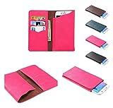 DFVmobile - Etui Vertikaltasche Tasche Schutzhülle aus Kunstleder mit Kartenfächer für Wiko Selfy 4G - Rosa