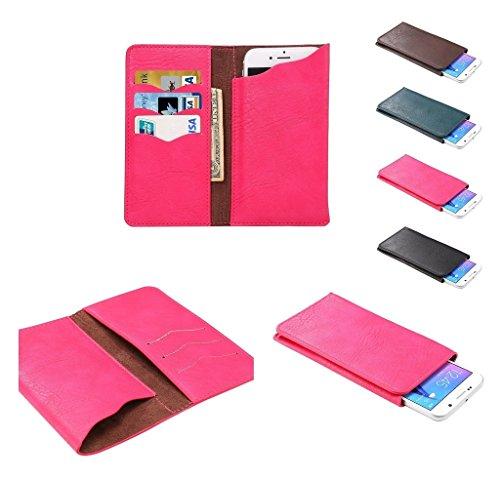 DFVmobile - Etui Vertikaltasche Tasche Schutzhülle aus Kunstleder mit Kartenfächer für KAZAM Th&er 345 LTE, Th&er 345L - Rosa