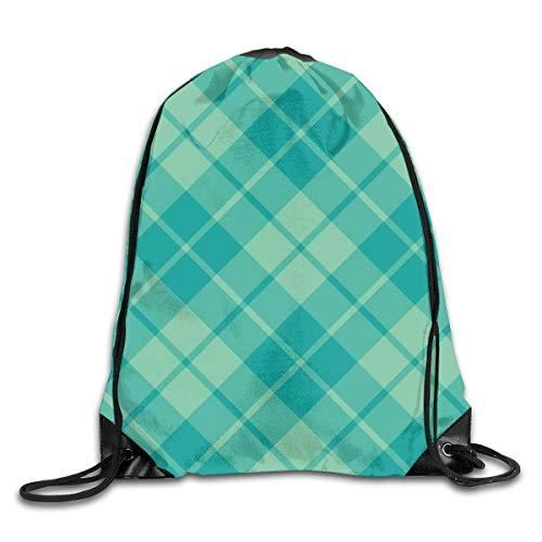 Drawstring Bag Rucksack Drawstring Backpack Teal and Surf Green Diagonal Tartan for Picnic Gym Sport Beach Yoga Drawstring Sackpack Bag 36X43CM
