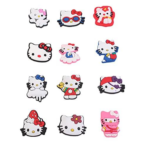 12 PCS Hello Kitty Shoe Charms, PVC Pins Decoration for Croc Bracelets...