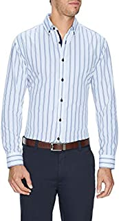 Tarocash Men's Eric Slim Stripe Shirt Slim Fit Long Sleeve Sizes XS-5XL for Going Out Smart Occasionwear