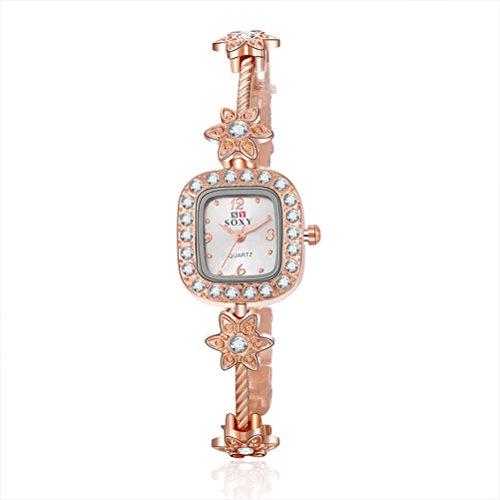 Relógio de pulso-Chic Crystal Alloy Bracelet Watch for Women Lady Quartz Watch (Rose Gold com Black Box)