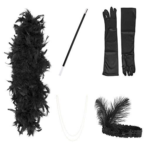 ShiyiUP 1920er Jahre Flapper Zubehör Stirnband Halskette Handschuhe Halloween Kostüm Accessoires für Damen 5 Stück