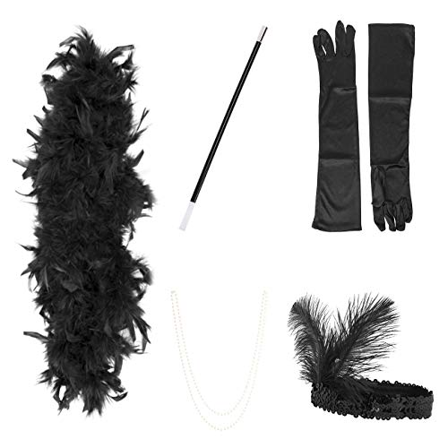 Famvos 1920er Jahre Flapper Zubehör Stirnband Halskette Handschuhe Zigarettenspitze Halloween Kostüm Accessoires für Damen 5 Stück