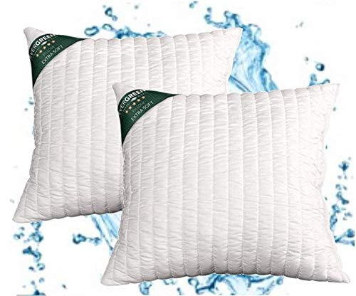 Evergreenweb - Cuscini Letto Coppia 45x45 alti 15 cm 2 Guanciali lavabili in Lavatrice Guanciali Cervicali Ortopedici per Dolori Cervicali Cuscini Arredo Divano Imbottitura fiocco Super Soft Antiacaro
