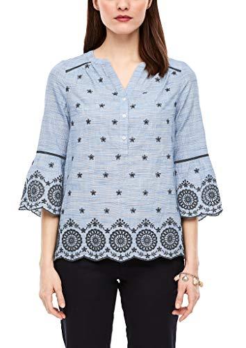 s.Oliver RED Label Damen Bluse mit Lochstickerei Blue Wave Black Embroidery 40