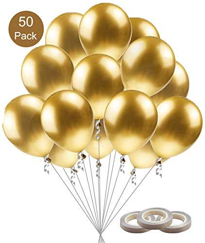 BluVast Palloncini Oro, Palloncini Metallo, 50-Pack Helium Balloons Palloncini Metallici Palloncini Metallizzati Oro per Compleanno Laurea Party Cerimonia Celebrazione Decorazione