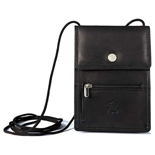 Wildery Neck Pouch Leather Mobile Phone Chest Bag Shoulder Bag for Men Women with Credit Card Slots in Black