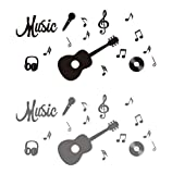 Music Wall Decal Musical Note with Guitar Quote Home Decor Art Quote Decals Wall Art Stickers Music Musical Notes Removable Vinyl Wall Decal Home Décor