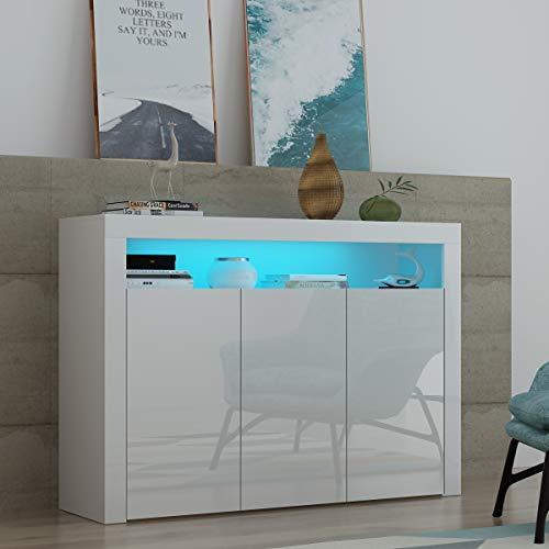 Keinode Sideboard mit 3 Türen, Hochglanz-Vorderschrank, LED-Leuchten in modernem Design, TV-Schrank, Möbel für Wohnzimmer, Esszimmer, Küche, Badezimmer, Schlafzimmer, Flur (weiß)