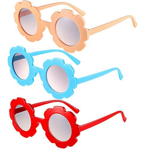 Frienda 3 Stück Runde Blumen Sonnenbrille Nette Outdoor Sonnenbrille Outdoor Brille für Kinder (Hellorange, Rot, Blau)