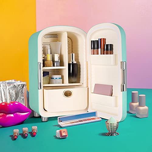 Kacsoo Mini Refrigerador, Mini Nevera Portátil para el Skincare 12L Refrigerador Móvil de Bajo Ruido, Vonveniente para Almacenar Cosméticos (Green)