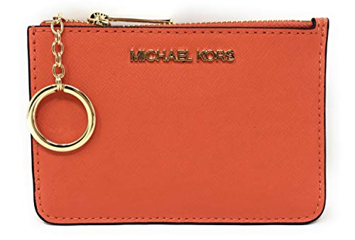Michael Kors Jet Set Travel Small Top Zip Coin Pouch with ID Holder Saffiano Leather (Clementine)