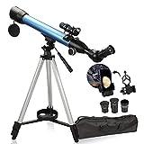 Telescopio para niños adultos principiantes, telescopio portátil de 600/50 mm para astronomía, telescopio refractor con trípode ajustable, adaptador de teléfono, buscador, brújula