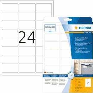 HERMA Etiketten Outdoor Klebefolie weiß 63,5x33,9mm Special A4 VE=240 Stück
