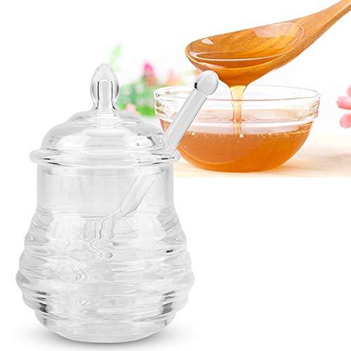 Tarro de miel, tarro de miel transparente en forma de colmena con goteador para almacenar y dispensar miel, 245 ml