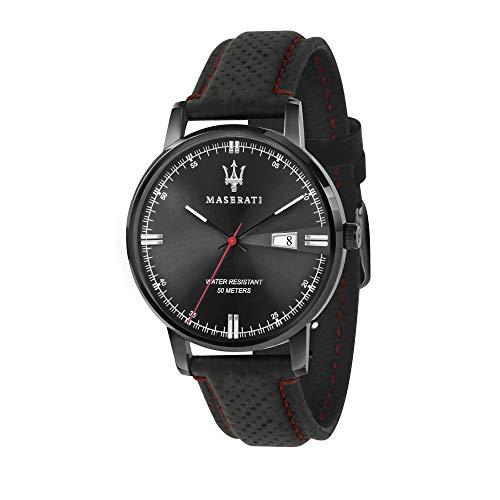 Orologio da uomo, Collezione Eleganza Maserati, movimento al quarzo, tempo e data, in acciaio e cuoio - R8851130001
