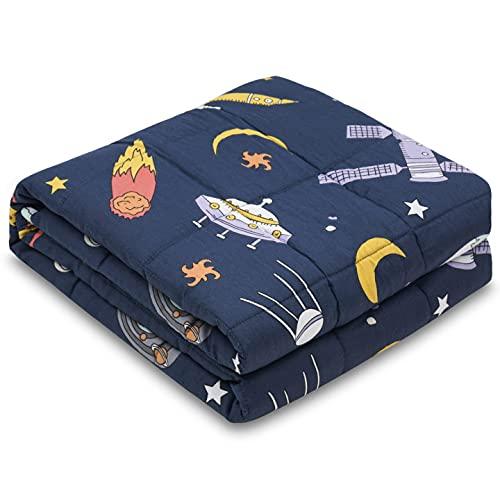 RECYCO Kinder Gewichtsdecke 2,3kg 90x120cm Schwere Decke aus Baumwolle mit Glasperlen Therapiedecke Schlafhilfe Stressabbau für Kinder und Jugendliche (Raumfahrt)