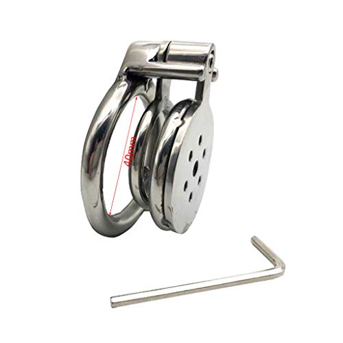 yasu7 Stainless Steel Cock Restraint Penile Bondage Ring Anti-Off Ring Chastity Lock