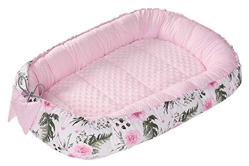 Reducteur de lit Bébé Cocon 90x50cm 100% Coton Baby Nest nouveau-né Medi Partners Nid de Bébés Oreiller Couverture Insert Amovible (Fleurs avec rose clair Minky)