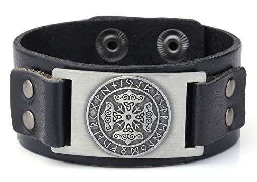 Runas nórdicas vikingas, brazalete con martillo de Thor, talismán ajustable, pulsera en piel para hombre.